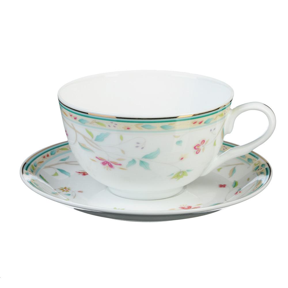 """Чайный сервиз 2 предмета, тонкий фарфор, 330 мл, MILLIMI """"Урсула"""""""
