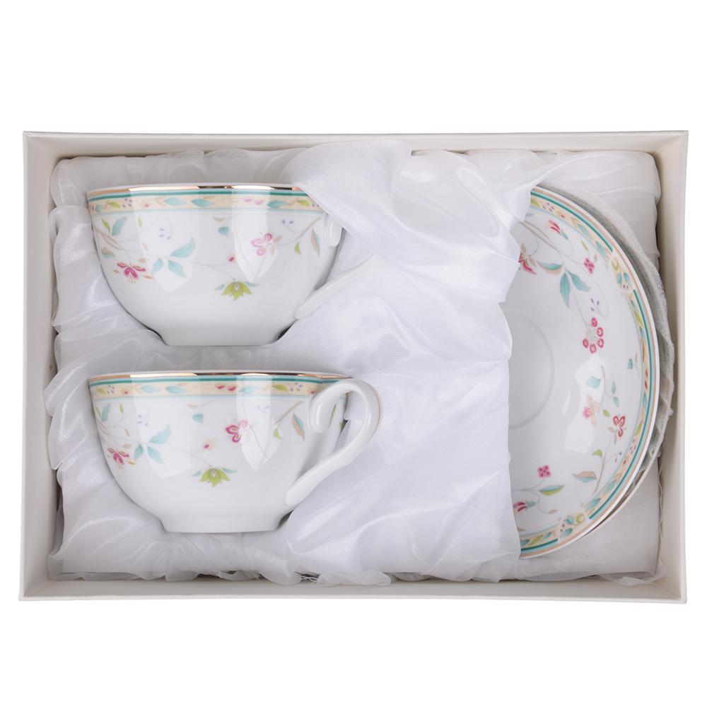 """Чайный сервиз 4 предмета, тонкий фарфор,330 мл, MILLIMI """"Урсула"""""""
