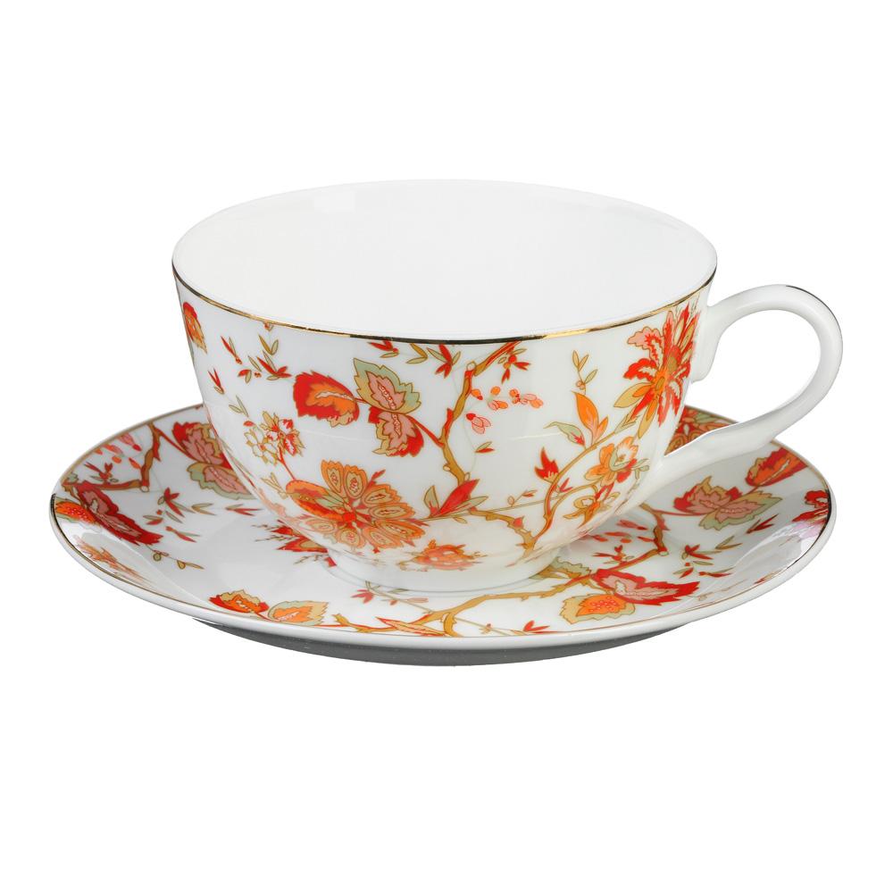 """Чайный сервиз 4 предмета, тонкий фарфор, 330 мл, MILLIMI """"Волшебные цветы"""""""