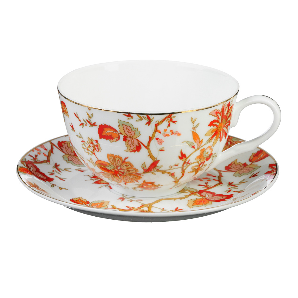 """Чайный сервиз 12 предметов, тонкий фарфор, 330 мл, MILLIMI """"Волшебные цветы"""""""