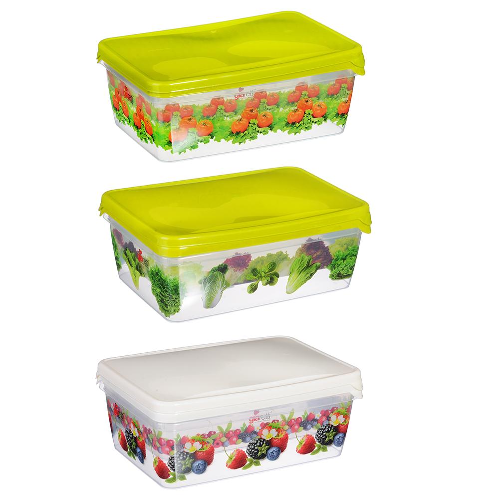 Набор контейнеров д/продуктов Браво, 2шт, прямоугольные, 0,9 л+1,35л, пластик, 3 дизайна, арт.GR1072