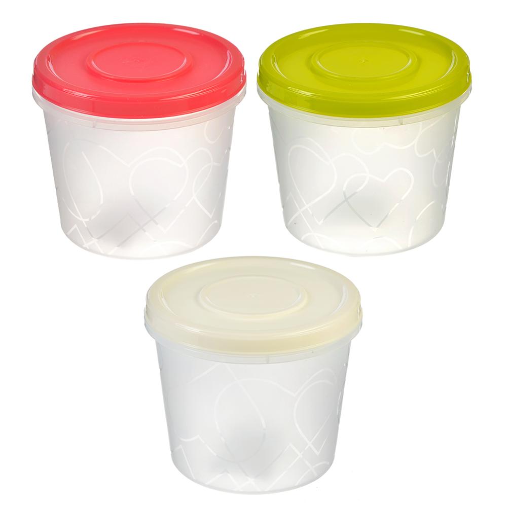 Банка для хранения продуктов пластиковая, с завинчивающейся крышкой 0,7л, 3 цвета, арт. GR1888