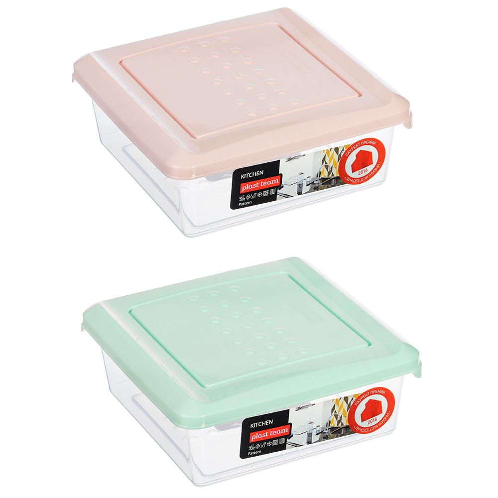 Емкость для хранения продуктов PATTERN, квадратный, 0,5л, пластик, цвета: мята, пудра