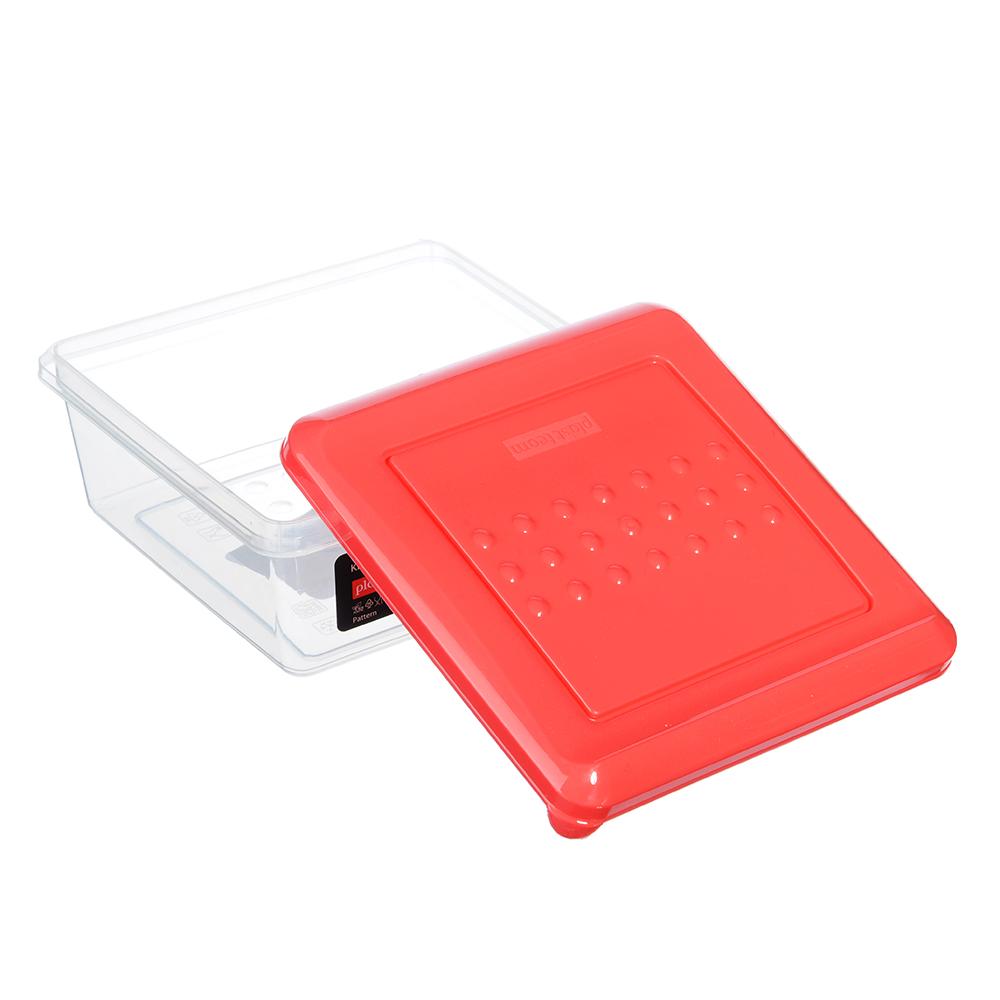 Емкость для хранения продуктов PATTERN, квадратный, 0,5л, пластик, цвета: коралл, лайм