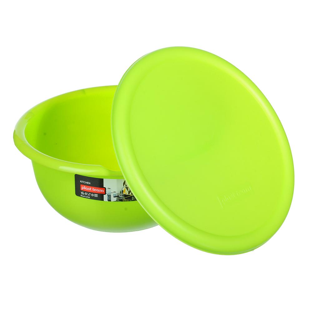 Миска с крышкой 2,1л, пластик, цвета: коралл, лайм, РТ2451