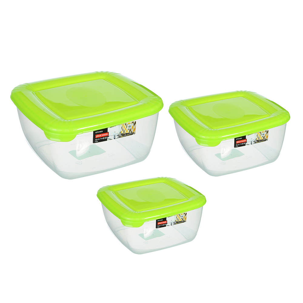 Набор емкостей для продуктов POLAR, квадратные, 3 шт, 0,95л, 1,5л, 2,5л, арт. РТ1680
