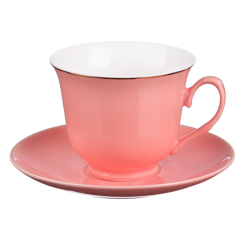 """Чайный сервиз 2 предмета, костяной фарфор, 250 мл, розовый, MILLIMI """"Пастель"""""""