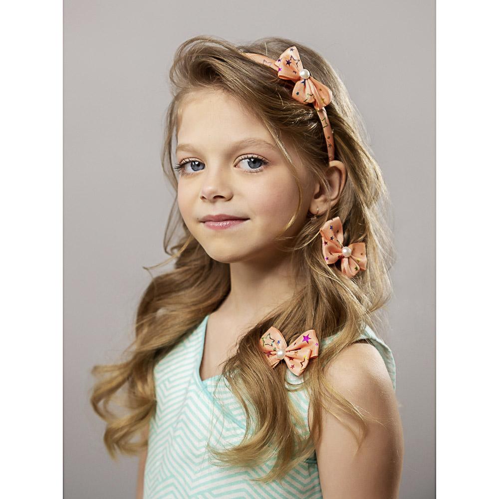 Набор детский для волос: ободок 1 см, заколка клик-клак 2шт. 4,5 см, полиэстер, сплав, 4 цвета