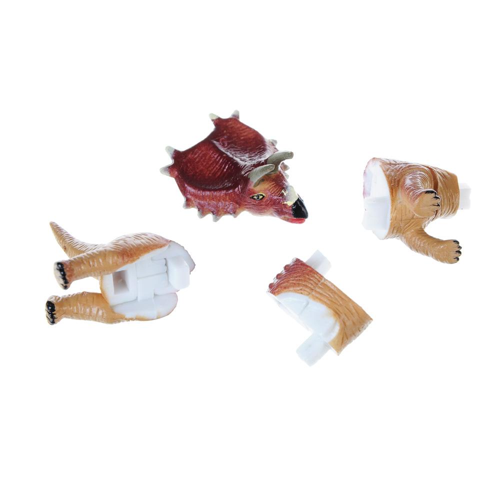 """ИГРОЛЕНД Фигурка-пазл """"Динозавр"""", коллекционная, 6-10см, в пакете,10х14х4см, пластик, 7-28 деталей"""