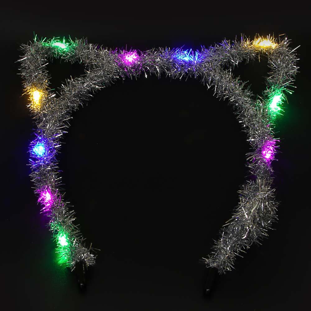 Ободок карнавальный из мишуры LED, 16х16 см, 6 цветов, СНОУ БУМ