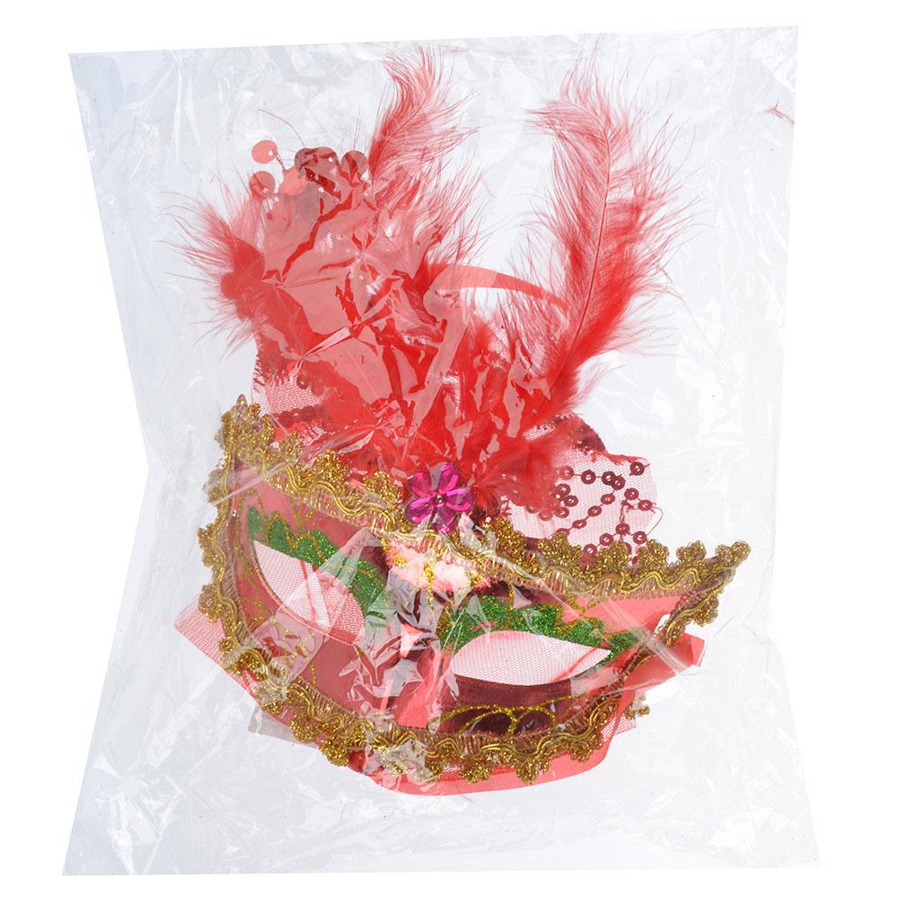 Маска карнавальная, с вуалью и перьями, полиэстер, 40х15,5 см, 6 цветов, СНОУ БУМ