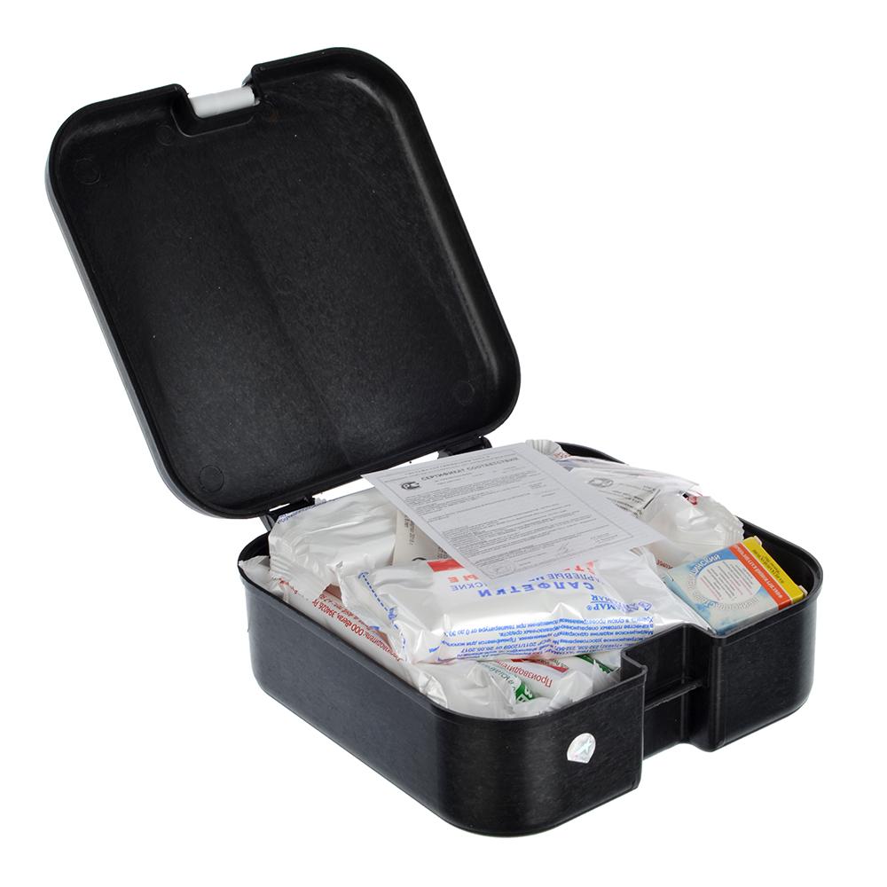 Аптечка, кейс (Соответствует приказу Минздравсоцразвития), пластик, 16,5x16,5x6,8см, черная