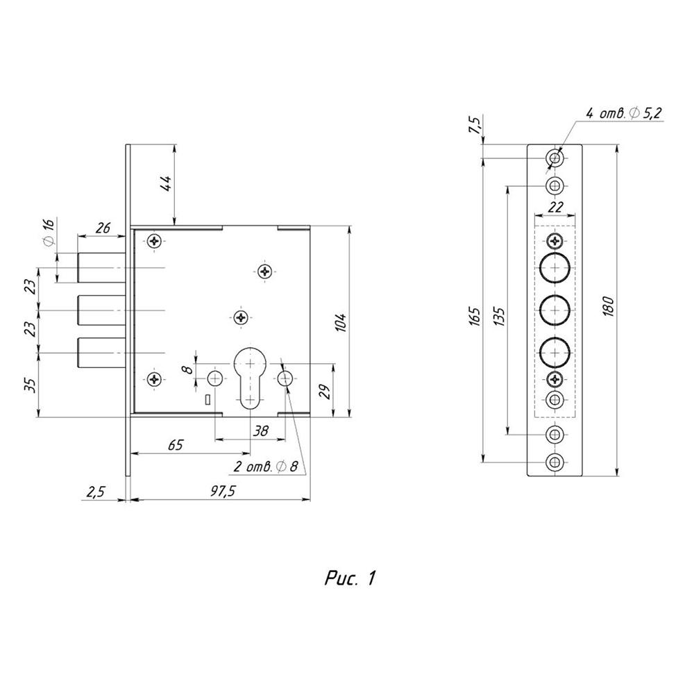 """Корпус замка врезной под цилиндровый механизм, ЗВЦ-11, (590), """"Сиблок"""""""