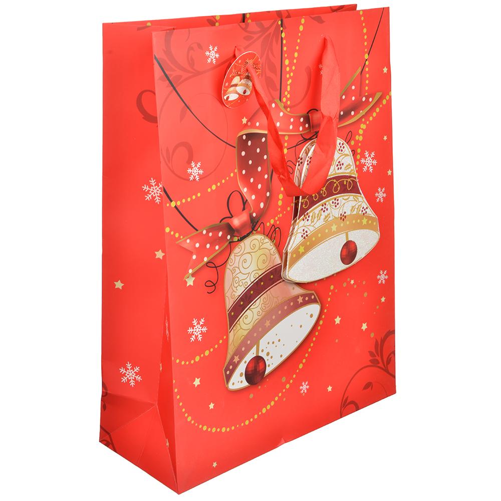 СНОУ БУМ Пакет подарочный, 30х40х12 см, 3D с глиттером, бумага высокого качества, 4 вида, арт.0304