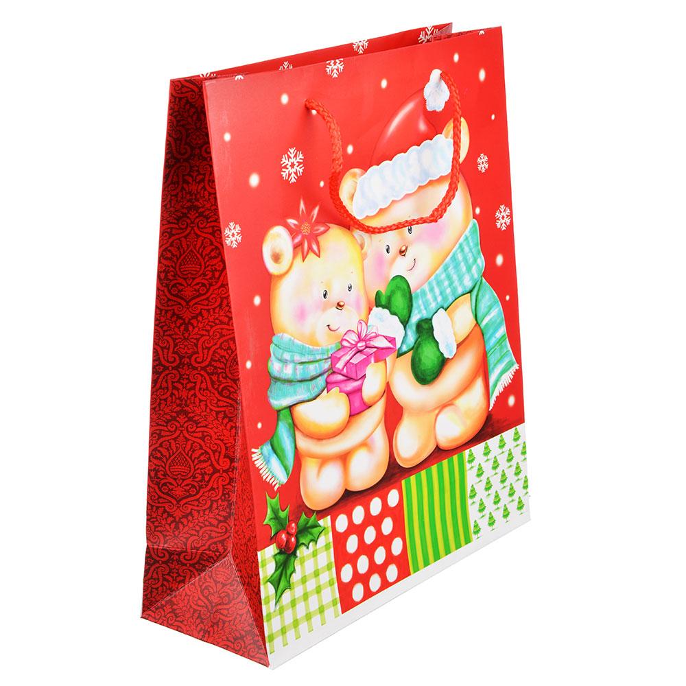 СНОУ БУМ Пакет подарочный, 26х32х10 см, бумага высокого качества, 4 вида, арт.0309