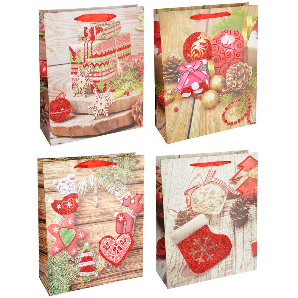 СНОУ БУМ Пакет подарочный, 26х32х10 см, бумага высокого качества с глиттером, 4 вида, арт.0312
