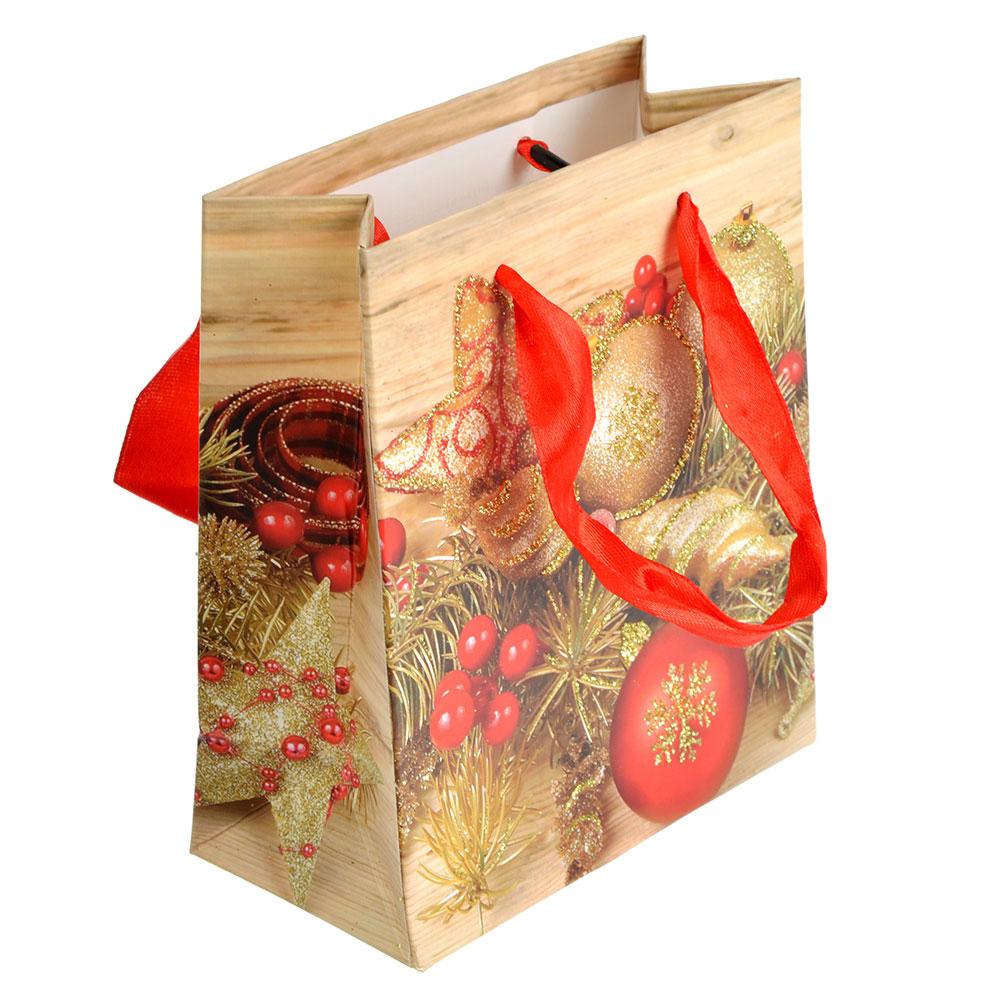 СНОУ БУМ Пакет подарочный, 12х14х6 см, бумага высокого качества с глиттером, 6 дизайнов, арт.0314