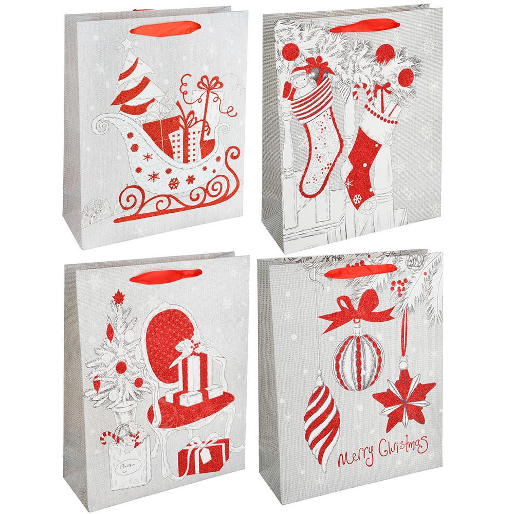СНОУ БУМ Пакет подарочный, 26х32х10 см, бумага высокого качества с глиттером, 4 вида, арт.0316