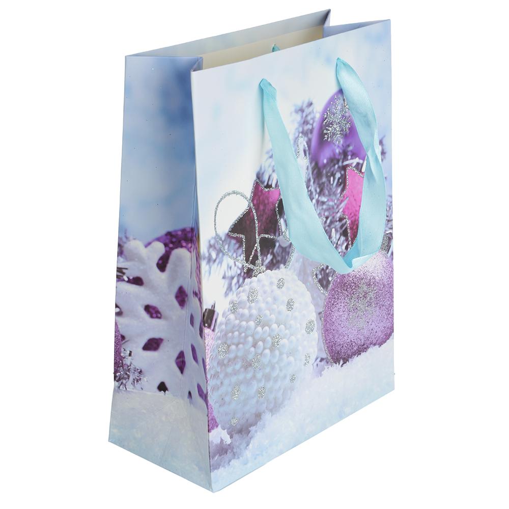 СНОУ БУМ Пакет подарочный, 24х18х8,5 см, бумага высокого качества с глиттером, 4 вида, арт.0318