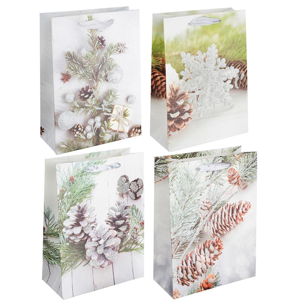СНОУ БУМ Пакет подарочный, 24х18х8,5 см, бумага высокого качества с глиттером, 4 вида, арт.0320