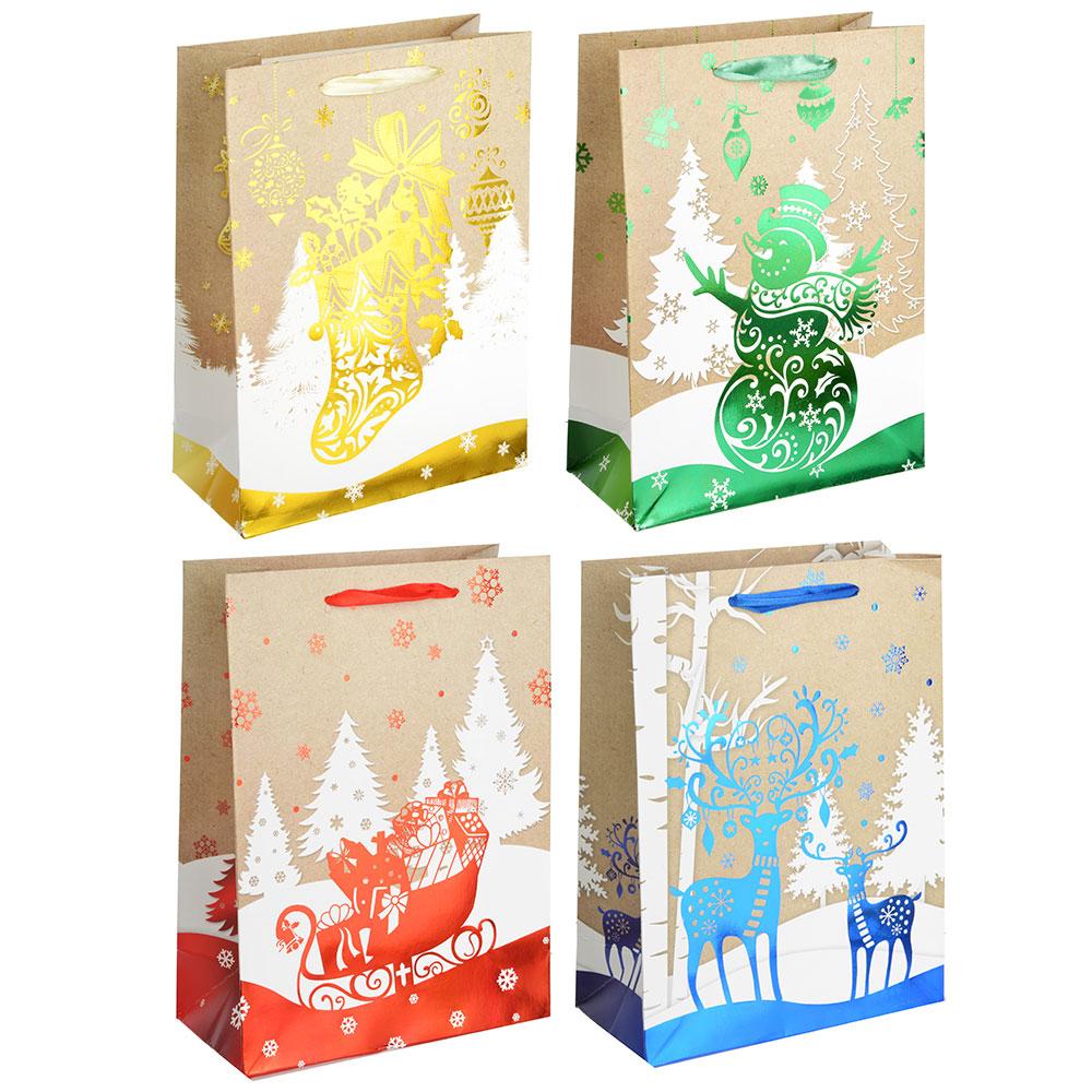 СНОУ БУМ Пакет подарочный, 24х18х8,5 см, бумага высокого качества с блеском, 4 вида, арт.0321