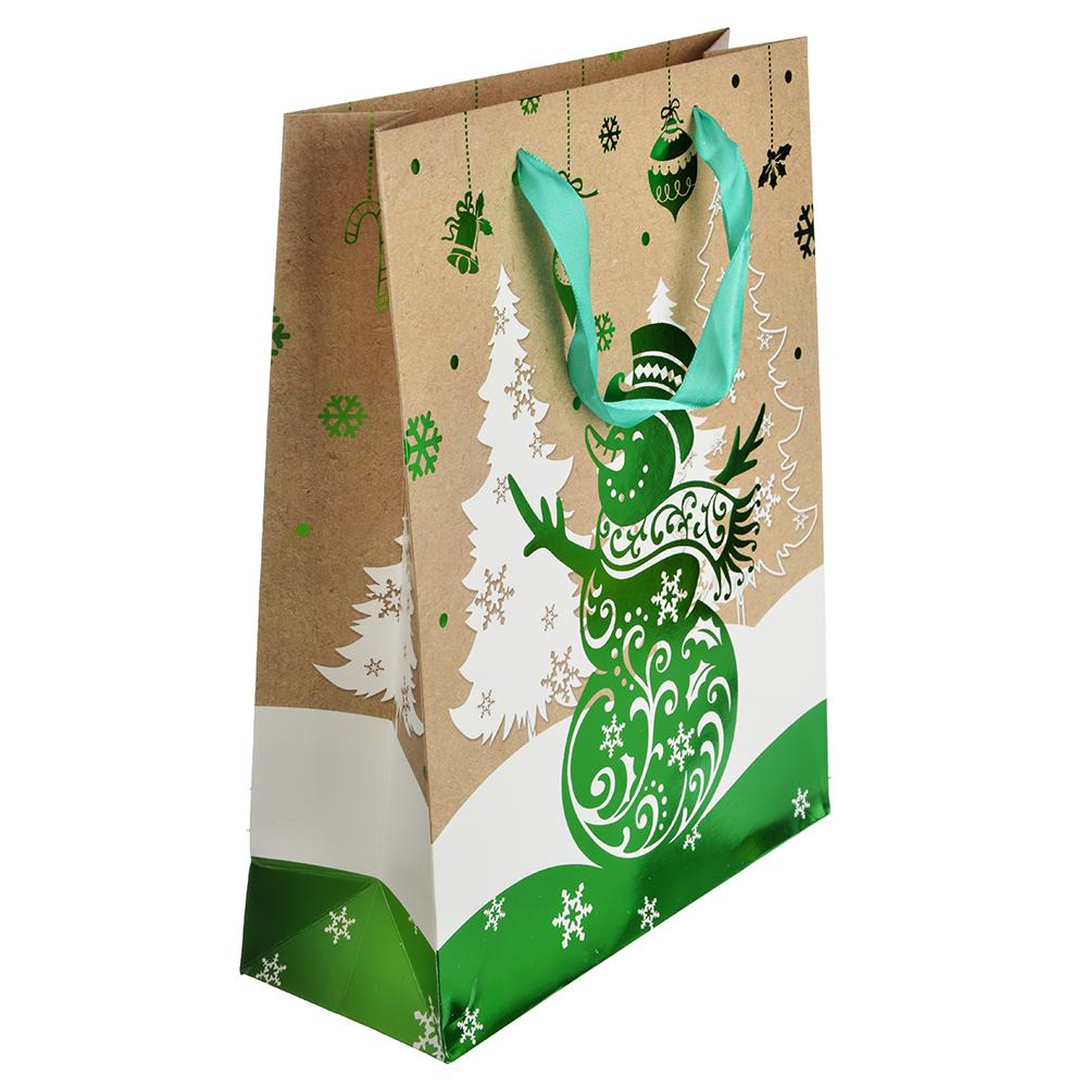 СНОУ БУМ Пакет подарочный, 26х32х10 см, бумага высокого качества с блеском, 4 вида, арт.0322