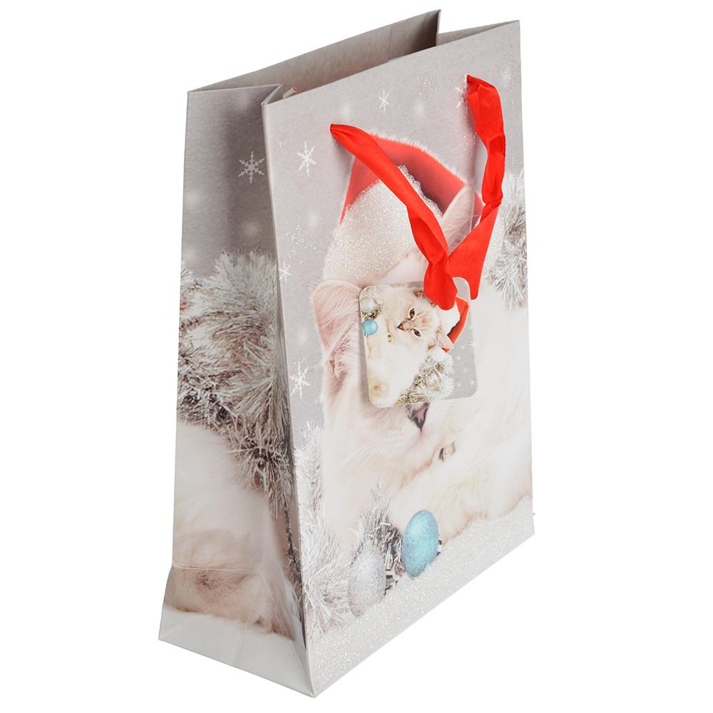СНОУ БУМ Пакет подарочный, 18х24х8 см, бумага высокого качества с глиттером, 8 дизайнов, арт.0323