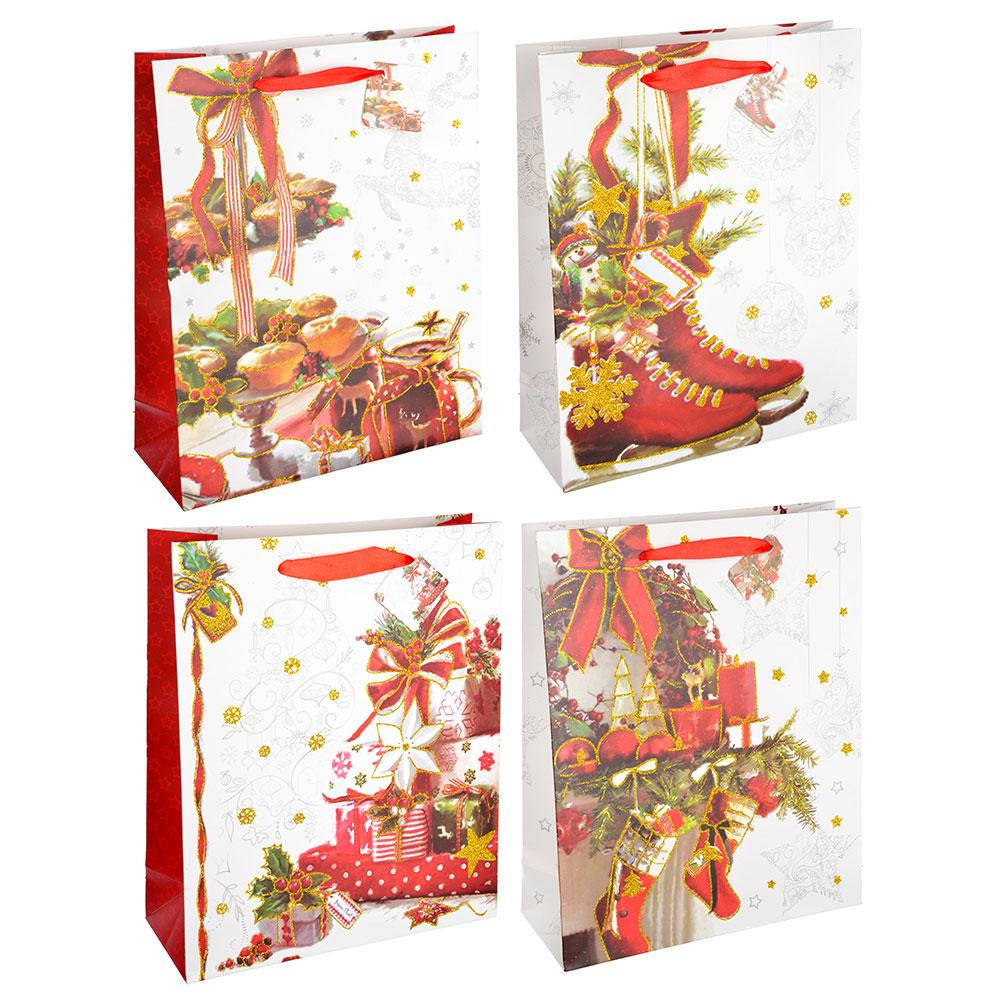 СНОУ БУМ Пакет подарочный, 26х32х10 см, бумага высокого качества с глиттером, 4 вида, арт.0325