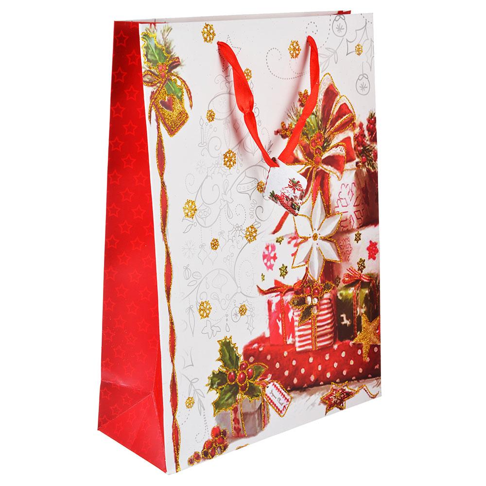 СНОУ БУМ Пакет подарочный, 30х42х12 см, бумага высокого качества с глиттером, 4 вида, арт.0326