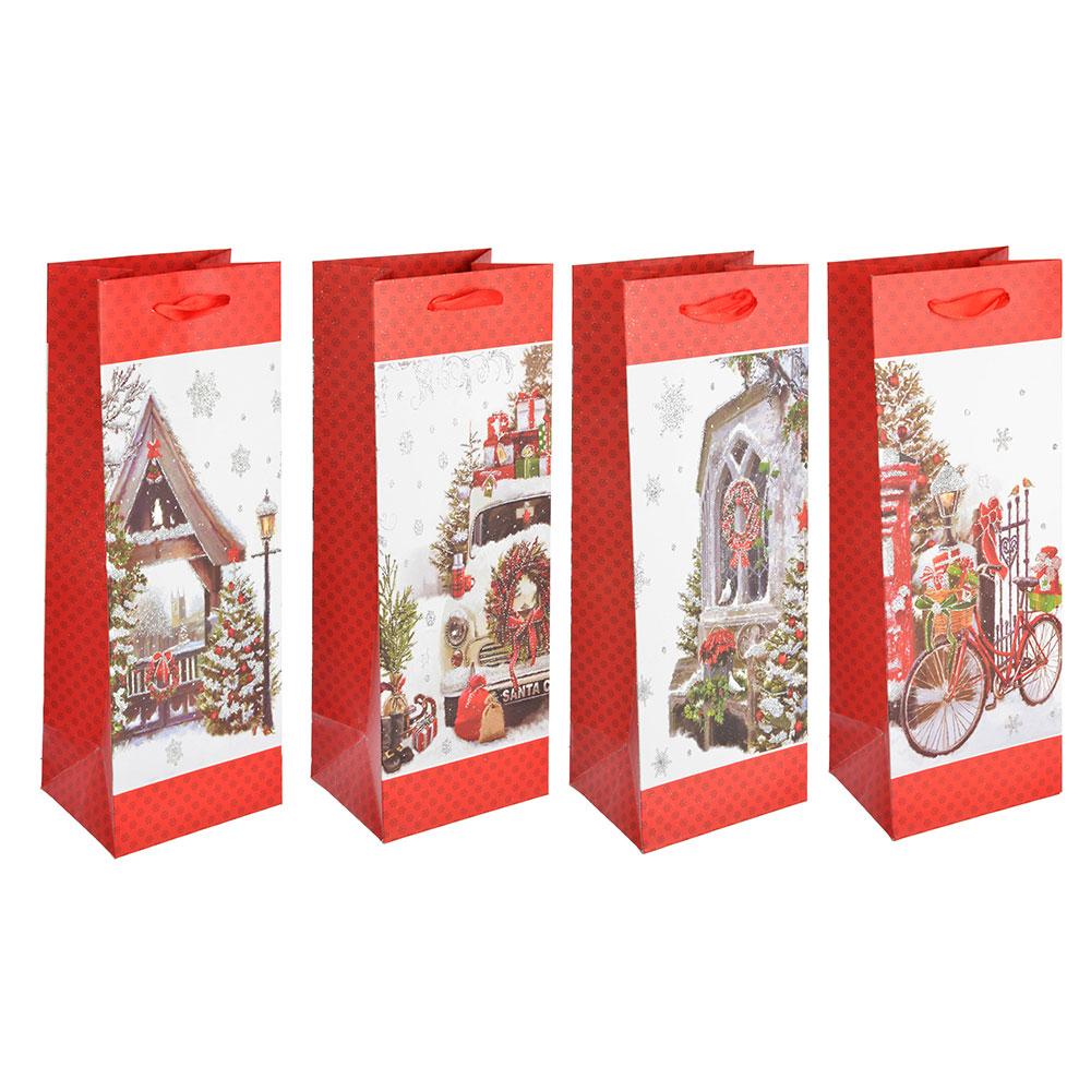 СНОУ БУМ Пакет подарочный, 12,5х34,5х10 см, бумага высокого качества с глиттером, 4 вида, арт.0327