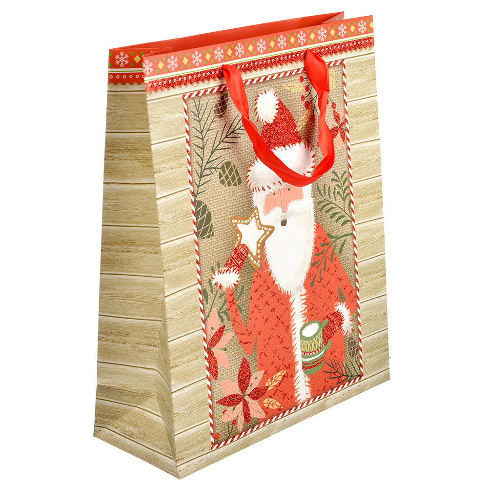 СНОУ БУМ Пакет подарочный, 26х32х10 см, бумага высокого качества с глиттером, 4 вида, арт.0328