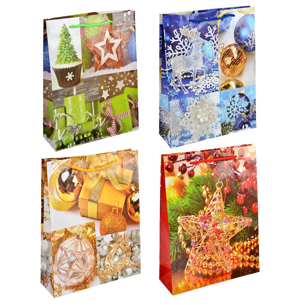СНОУ БУМ Пакет подарочный, 23х30х8 см, бумага, 4 вида, арт.0331
