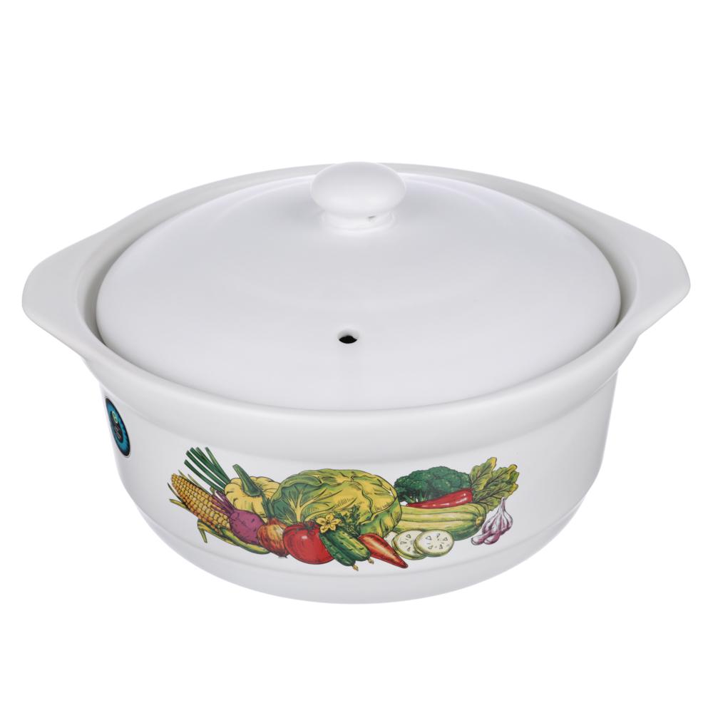 Кастрюля керамическая с крышкой 3 л MILLIMI Аппетит, 4 дизайна