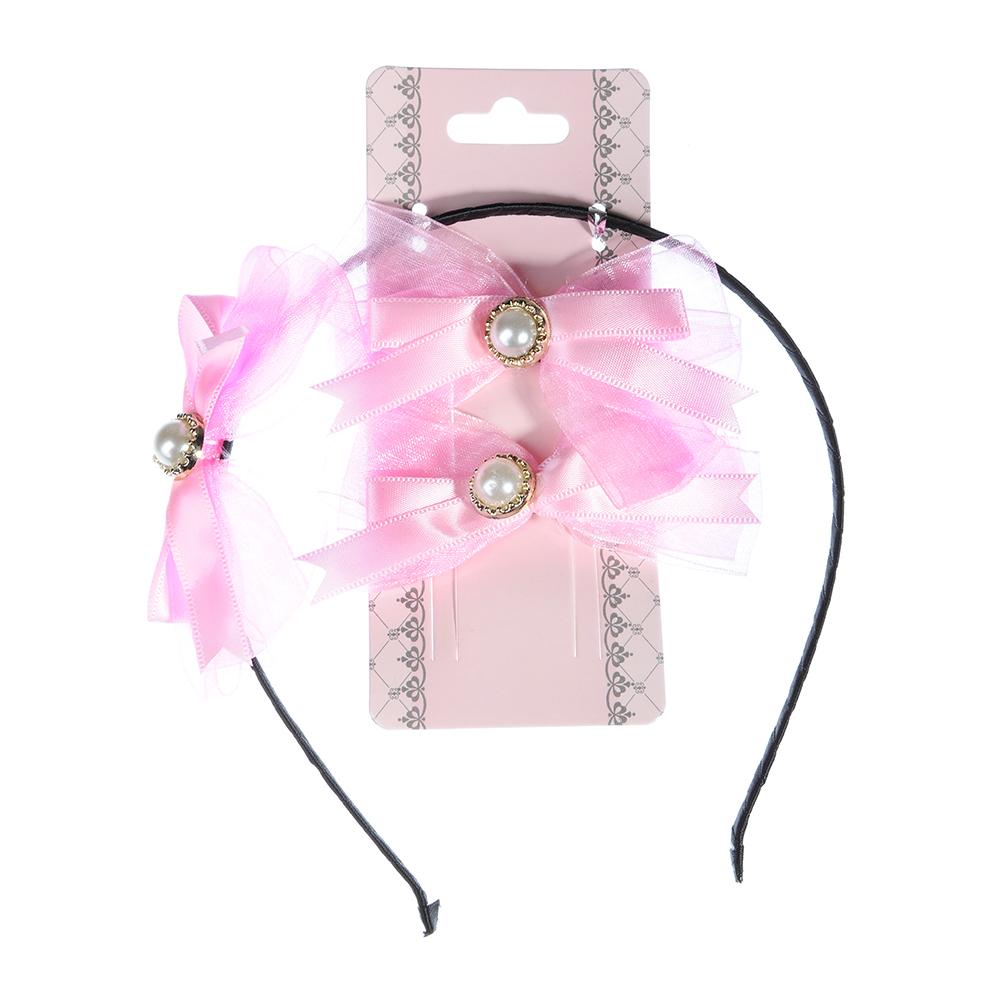 Набор детский для волос: ободок 0,5 см, заколка-зажим 2шт. 4 см, полиэстер, сплав, 6 цветов