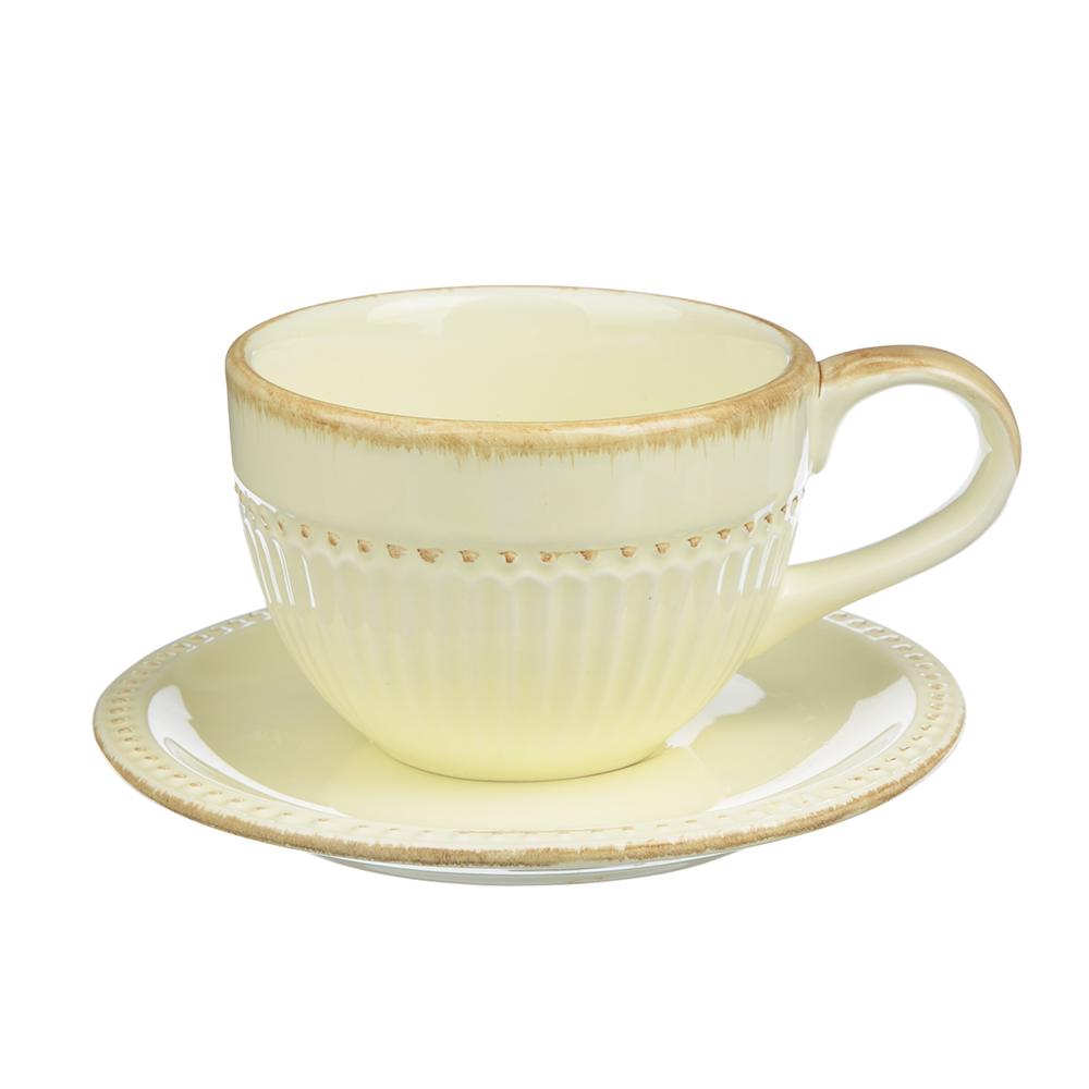 """Чайный сервиз 2 предмета, керамика, MILLIMI """"Ваниль"""""""