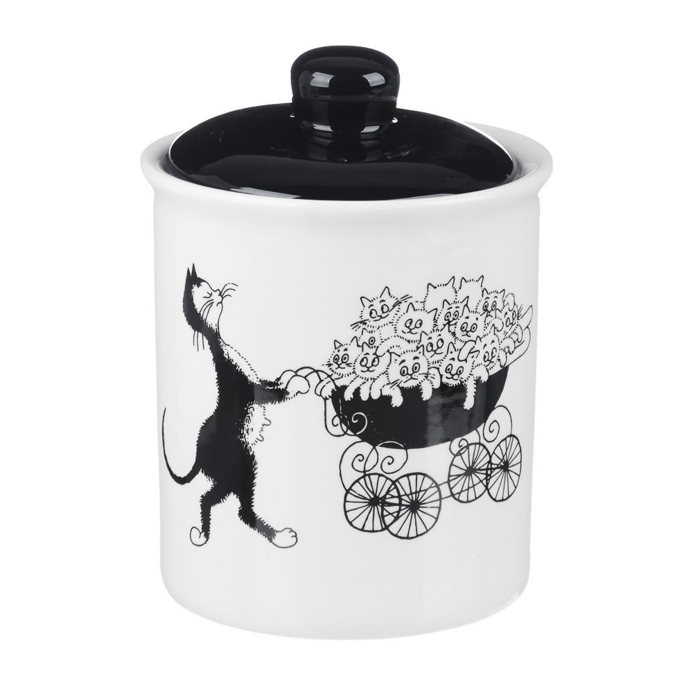 """Банка для сыпучих продуктов керамическая, 550 мл, 10х13 см, MILLIMI """"Черный кот"""""""