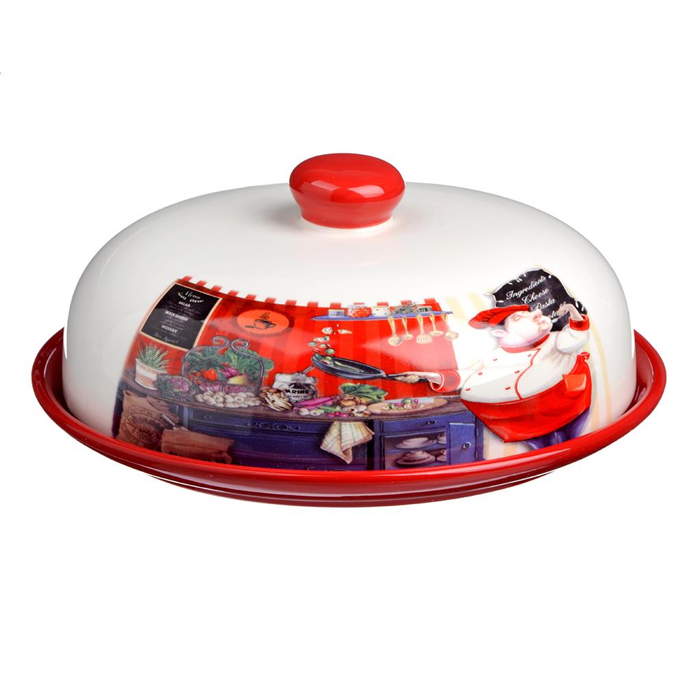 """Блюдо для блинов с крышкой керамическое 25х25х10 см, MILLIMI """"Повар"""""""