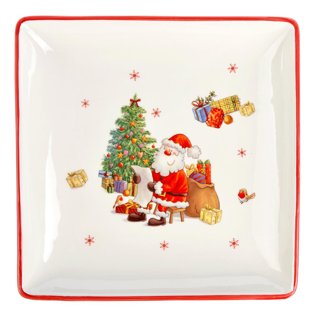 MILLIMI Новый год Блюдо квадратное 28х4см, керамика