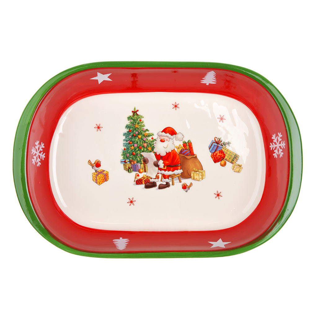 MILLIMI Новый год Форма для запекания и многослойных салатов овальная, 30х21х6см, керамика