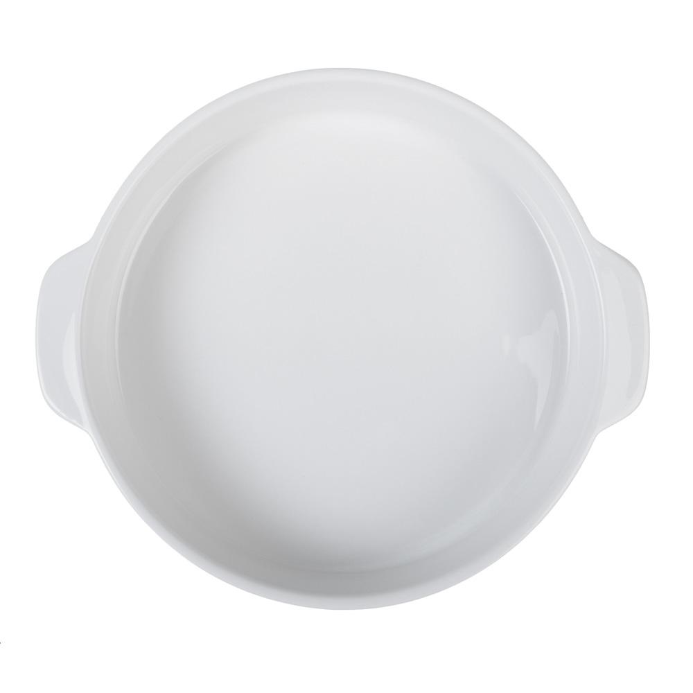 MILLIMI Жемчуг Форма для запекания и сервировки круглая с ручками, керамика, 26х23х4.5см, белая