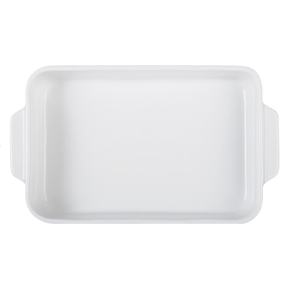 MILLIMI Жемчуг Форма для запекания и сервировки прямоугольная с ручками, 27х16х4.5см, белая