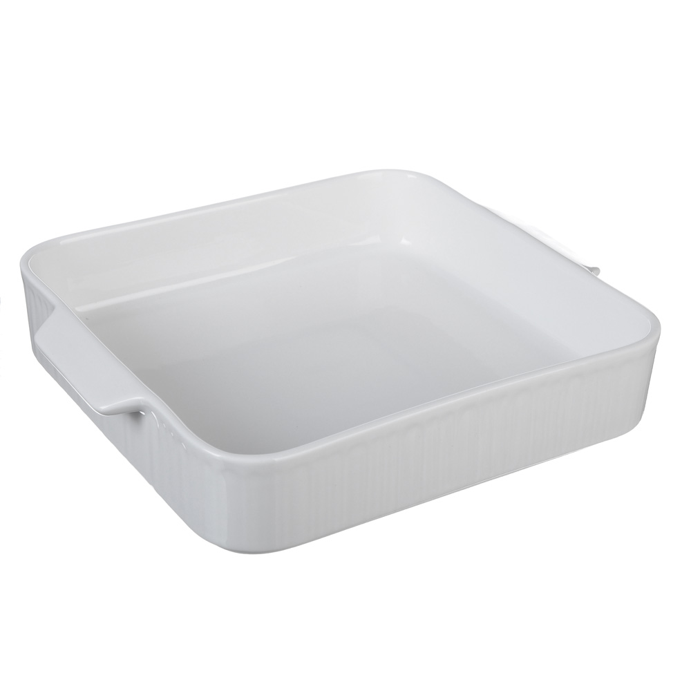 MILLIMI Жемчуг Форма для запекания и сервировки квадратная с ручками, 26.5х23х5см, белая