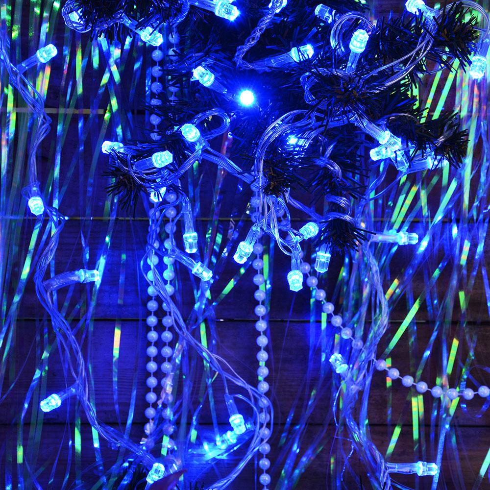 Гирлянда светодиодная Вьюн СНОУ БУМ 9м, 100 LED-алмаз, голубой, прозрачный провод, 220В
