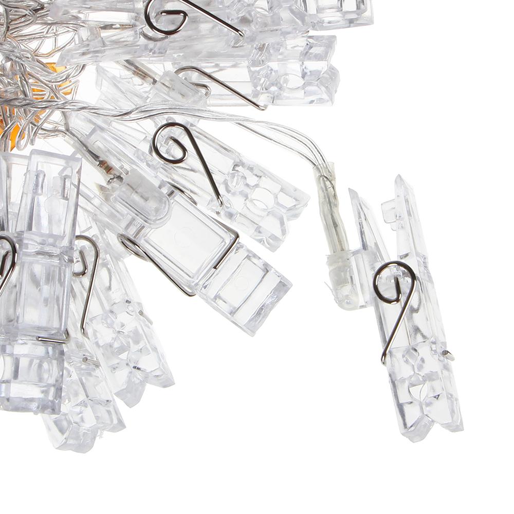 """Гирлянда светодиодная СНОУ БУМ, 3 м, 15LED, в форме прищепки, """"Теплый белый"""", 1 режим, 220В"""