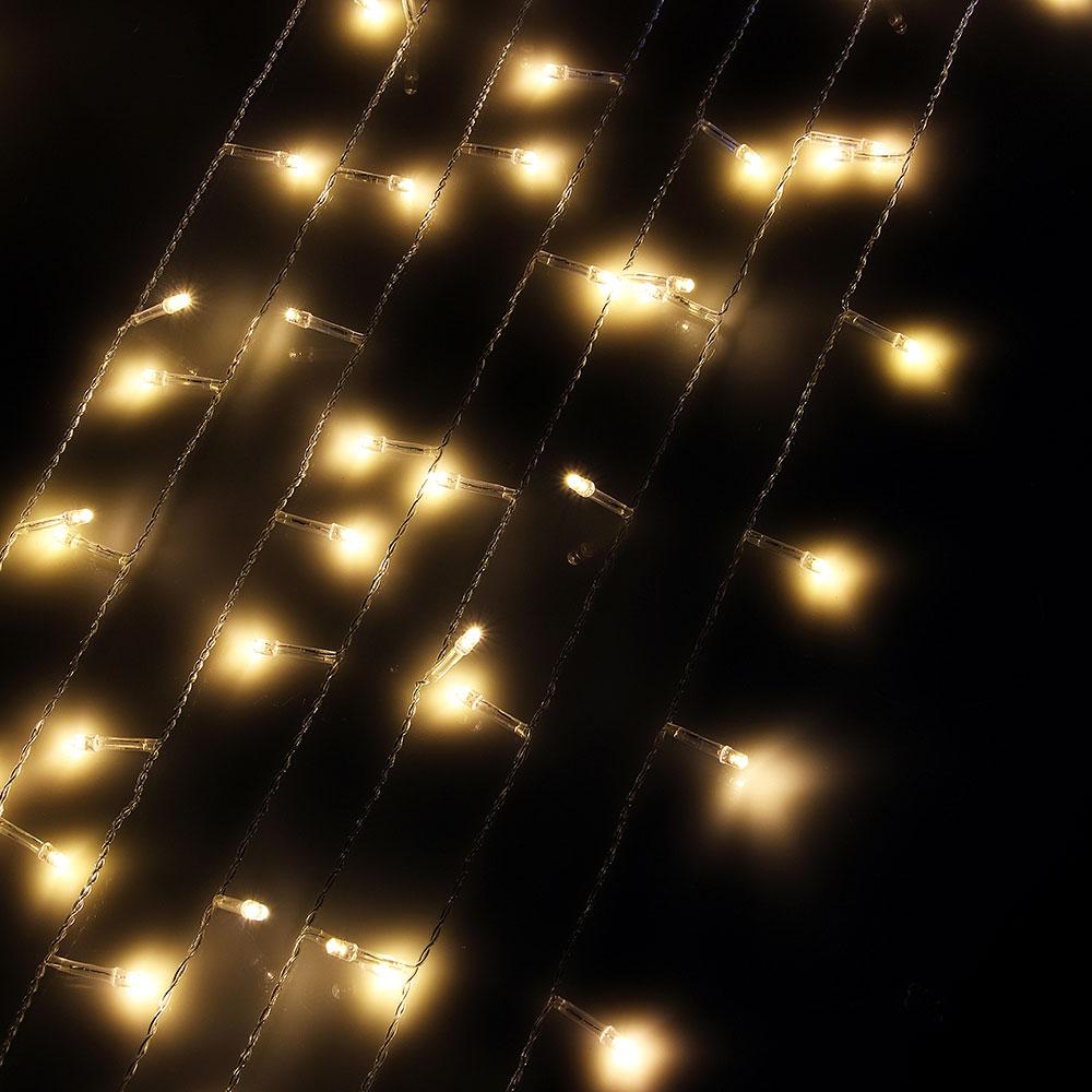 Гирлянда светодиодная занавес СНОУ БУМ  280 LED, 2x1,5м, шампань, мерцание, прозрачный провод, 220В
