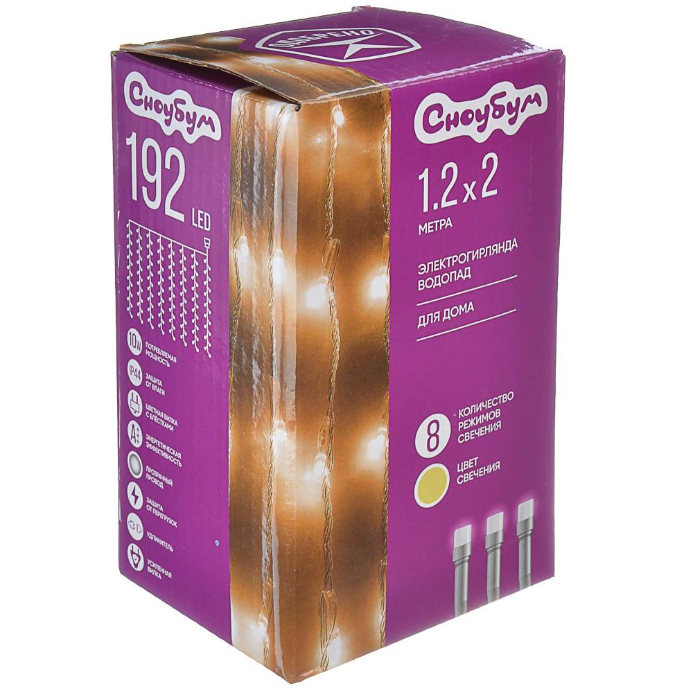 Гирлянда светодиодная водопад СНОУ БУМ 192 LED, 1,2х2 м, 8 нитей, шампань, 8 режимов, 220В
