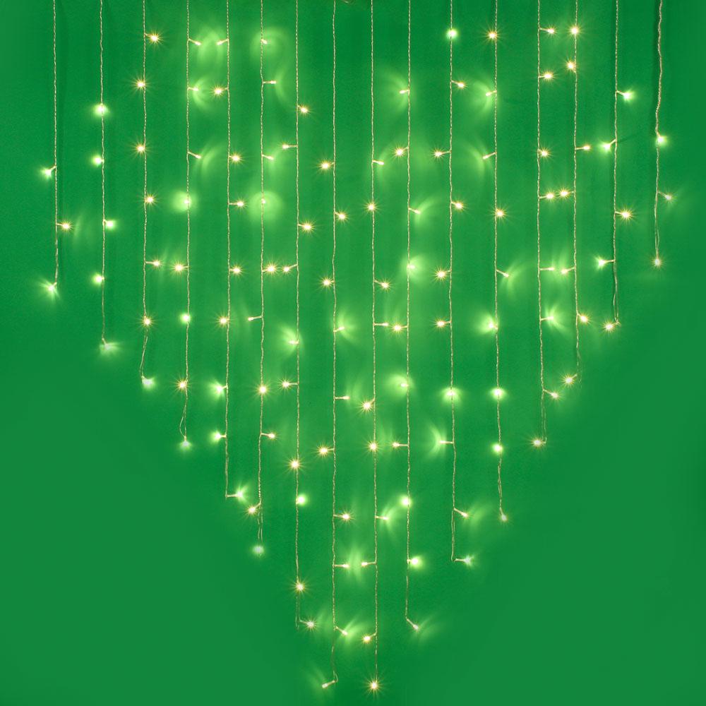 Гирлянда светодиодная Бахрома-сердце СНОУ БУМ 124LED, 2,5х1,5м,16 нитей, шампань
