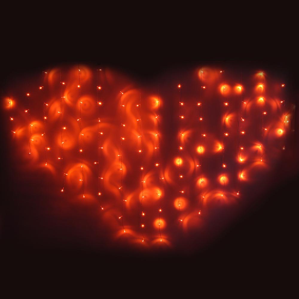 СНОУ БУМ Гирлянда электр. бахрома-сердце 124LED, 2,5х1,5м,16 нитей, коралловый, 8реж, 220В