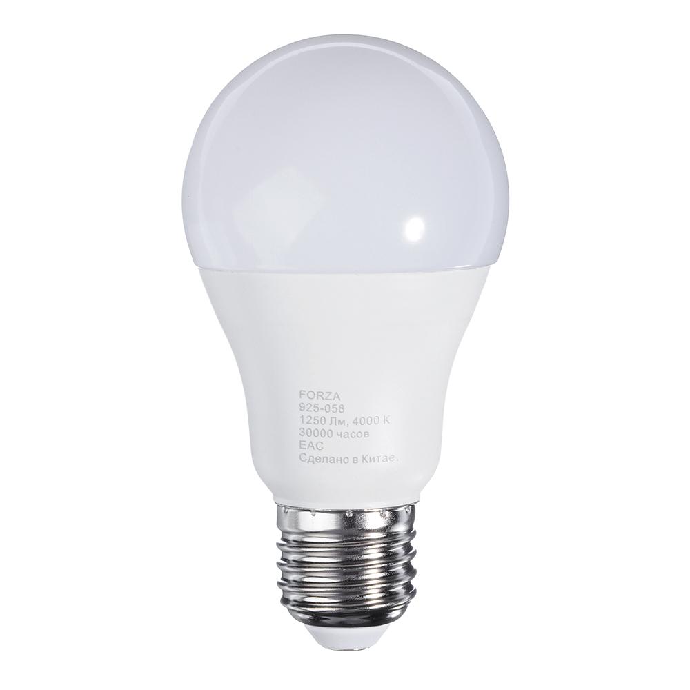 Лампа светодиодная FORZA A60, 14W, E27, 1250lm, 4000К