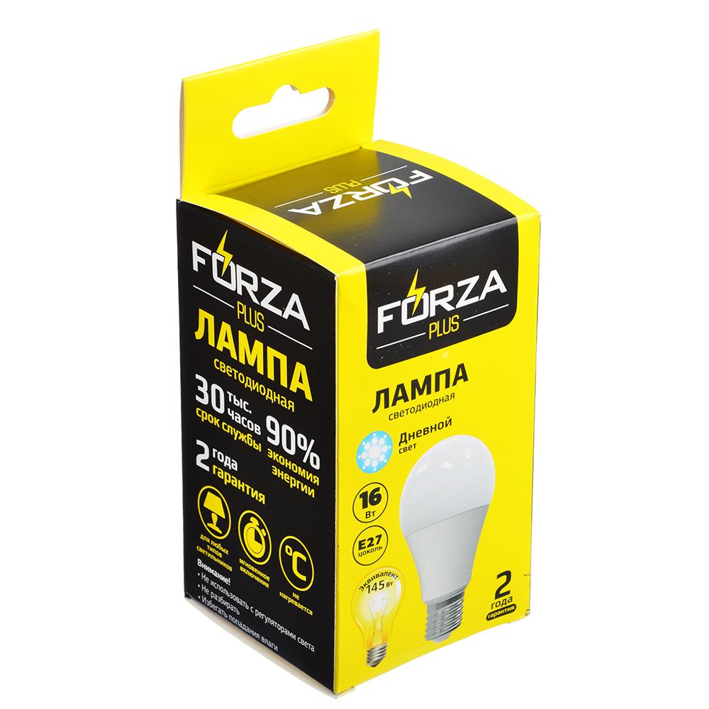 Лампа светодиодная FORZA A65, 16W, E27, 1280lm, 4000К